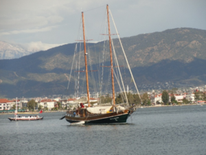 Sailing on two-masted wooden gulet up the coast