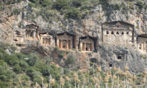 Lycian tombs carved in cliffs circa 400 BC
